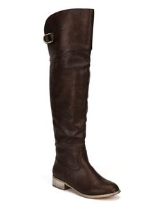 Nature Breeze AE19 Women Leatherette Round Toe Thigh High Riding Boot - Brown *** You can find more details by visiting the image link.
