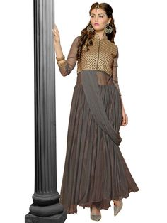 Prominent grey color net gown with zari work on yoke part with metal zip. Item Code: GANA1002V http://www.bharatplaza.com/new-arrivals/gowns.html