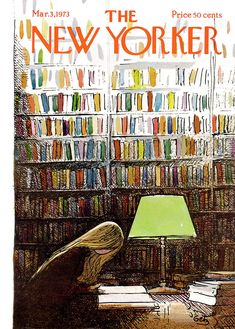 Les couvertures du magazine The New Yorker The New Yorker Cover 20 featured design art The New Yorker, New Yorker Covers, Library Posters, Library Art, Library Shelves, Capas New Yorker, Ligne Claire, Girl Reading, Happy Reading