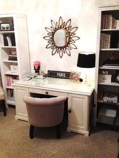 3-piece book shelves/cabinet from Ikea Hemnes line  Ikea Liatorp desk; mirror from Home Decorators Collection