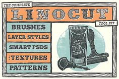 Ad: The Complete Linocut Tool Kit by The Artifex Forge on Love the linocut look but hate the mess? Thanks to the Artifex Forge you can now create amazingly realistic linocut designs without getting Huge Design, Art Design, Textile Design, Create Collage, Wax Crayons, Design Typography, Texture Packs, Photoshop Cs5, Photoshop Brushes