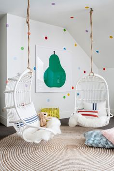 Chairs for A Girls Bedroom. Chairs for A Girls Bedroom. Rattan Hanging Chair for Reading Corner Girls Bedroom Playroom Design, Kids Room Design, Playroom Decor, Playroom Ideas, Colorful Playroom, Attic Playroom, Children Playroom, Attic Library, Attic Office