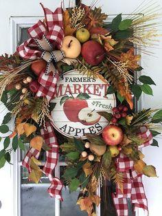Apple Wreath Farmhouse Wreath Fall Wreath Farmers Market Wreath Wreaths for Front Door Fall Farmhouse Decor Fall Wreath for Front Door Apple Wreath, Pumpkin Wreath, Summer Wreath, Wreath Fall, Grapevine Wreath, Autumn Wreaths For Front Door, Country Wreaths, Apple Decorations, Fall Door Decorations