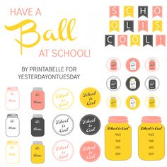 Mason Jar School Printables: FREE fun set of Mason Jar themed printables perfect for teacher gifts or a back to school party #masonjars #school #teachergifts