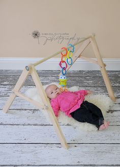 Hand Crafted Wood Baby Gym Structure Play Mat Hanging Toys // Unique Folding // Sensory Development