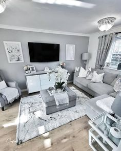 50 Grey Living Room Ideas You Must Look - Crafome Glam Living Room, Living Room Decor Cozy, Living Room Grey, Living Room Modern, Grey Room, Living Room Ideas For Townhouse, Living Room Ideas Black And White, Living Room With Windows, Grey Living Room Furniture