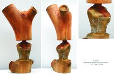 Cabeza. Madera de Abedul con policromia 57 x 28 x 13 cm