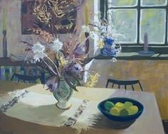 Sunlit flowers in a vase on the artist's dining table By Marjorie Wallace