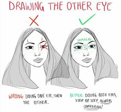 this helps so much but still it's difficult! i'm so used to doing one eye first that i forget this sometimes #Drawingtips