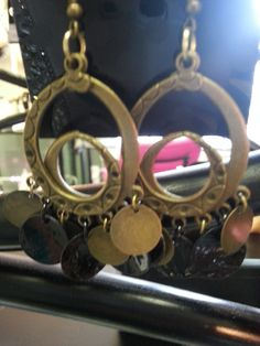 Brushed Gold Earrings with disk