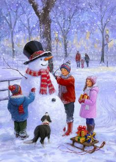 Leading Illustration & Publishing Agency based in London, New York & Marbella. Christmas Scenes, Christmas Past, Christmas Is Coming, Christmas Snowman, Winter Christmas, Vintage Christmas, Christmas Crafts, Christmas Ideas, Christmas Greeting Cards