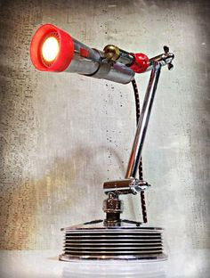 Look Ma', No Hands! © - Found Object Light Sculpture by Assemblage Artist, Jay Lana