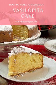 Greek New Year's lucky cake (Vasilopita) - Turkish Recipes Easy Greek Easter Bread, Greek Bread, Greek Cake, New Year's Desserts, Greek Desserts, Delicious Desserts, Vasilopita Cake, Vasilopita Recipe, Turkish Recipes