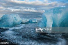 Stock Photo : Icebergs on the beach at Jökulsárlón