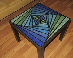 Mosaic Table by BlueCatMosaic on Etsy Mosaic Tray, Mosaic Tile Art, Mosaic Pots, Mosaic Crafts, Mosaic Projects, Mosaic Glass, Mosaic Table Tops, Mosaics, Stained Glass Patterns