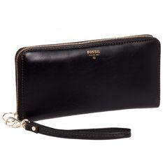 Fossil Womens Leather Sydney Zip Clutch Wallet