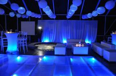 Love the blue #uplighting and #decorations at this #cocktailparty!