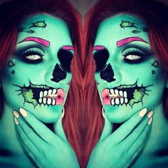 This pop art zombie Halloween makeup is everything.