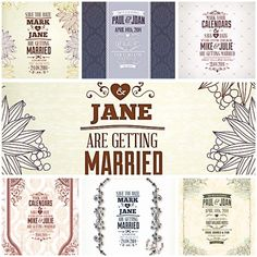 Set of 7 vectors with ornate floral design for your unique vintage wedding invitations.Free for download.