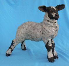 spring lamb - raku sculpture   by Lesley D McKenzie