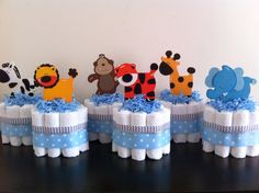 Mini Jungle Diaper Cakes SET OF 6, Safari Baby Shower, Baby Shower Centerpiece, Boy Baby Shower, Boy Jungle Diaper Cakes on Etsy, $52.00
