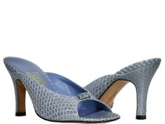 Salvatore Ferragamo - Leather Snake Skin Mules - Blue - Size 6 M