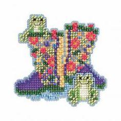 Garden Boots Beaded Cross Stitch Kit Mill Hill 2015 Spring Bouquet - $5.99