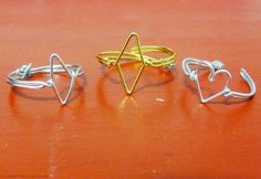 Essas Frescurites : DIY: Anéis Geométricos de Arame (Losango e Coração)