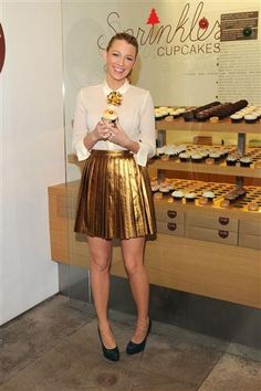 Blake Lively in a metallic skirt - her blouse with the brooch is adorable!