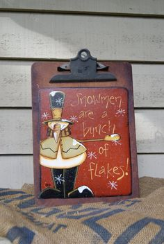 Country Snowman Hand Painted Clipboard by Ramshackles on Etsy, $14.95