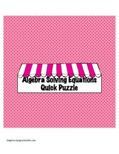 Algebra Solving Equations Puzzle - Freebie!