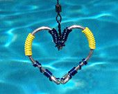 FISH HOOK HEART Necklace - Blue and Yellow Hooks