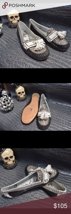 Sam Edelman grey tassel studded slip on flats New . Grey white and black leather flats . Studded moccasin look . Fringe tassels at toe . The ultimate flats with your favorite jeans . Some glue discoloration . Sam Edelman Shoes Flats & Loafers