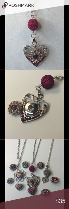 Snap Heart  Necklace Snap/Interchangeable Jewelry  Antique sliver flower carved jewelry with 18mm snap buttons,  and interchangeable jewelry, very versatile, personalize jewelry. You can design your own jewelry. Oracle Jewelry Jewelry Necklaces