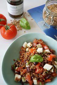 The Cook Time: Salade de petit épeautre aux deux tomates, mozzarella et olives noires