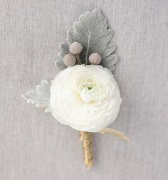 Winter Wedding Boutonniere Ideas: Ranunculus Blooms
