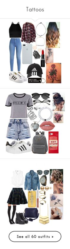 """""""Tattoos"""" by dlk6 ❤ liked on Polyvore featuring adidas Originals, Boohoo, Brandy Melville, ETUÍ, adidas, Various Projects, Ted Baker, nOir, Ryan Porter and Smashbox"""