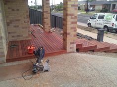 decking front porch and steps at derrimut – TLC handyman, Handyman, Brighton, VI… - All For Garden Front House Landscaping, Front Garden Landscape, Landscape Steps, House Landscape, Backyard Landscaping, Landscape Design, Landscaping Ideas, Front Path, Front Walkway