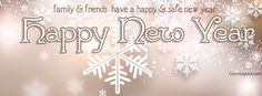 White Snowflakes Family Friends Happy New Year Facebook Cover CoverLayout.com
