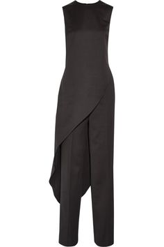 Esteban Cortazar Asymmetric Wool Top And Wide-leg Pants In Black Designer Jumpsuits, Fashion Outlet, Fashion Online, Fashion 2016, Top Designer Brands, Black Wool, Wide Leg Pants, Couture, Tops