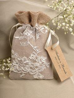 Natural Rustic Burlap Wedding Favor Bag , Natural Birch Bark Wedding Favor, County Style Bag, Custom Tag