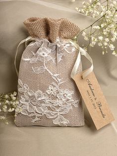 Natural Rustic Burlap Wedding Favor Bag Natural by DecorisWedding