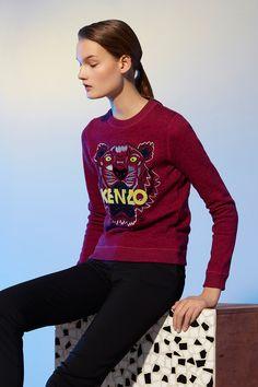 tiger sweatshirt in deep fuchsia by kenzo | € 195