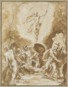 Giuseppe Cesari (Il Cavaliere d'Arpino), 1568-1640, Italian, The Resurrection, c.1600.  Pen and brown ink, brush and brown wash, highlighted with white, over black chalk, 42.2 x 32.4cm.  Metropolitan Museum of Art, New York.  Mannerism.