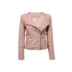 Yoins Collarless Biker Jacket -Pink  S/M/L (89 BAM) via Polyvore featuring outerwear, jackets, yoins, polyurethane jacket, moto jacket, brown quilted jacket, quilted biker jacket i brown motorcycle jacket