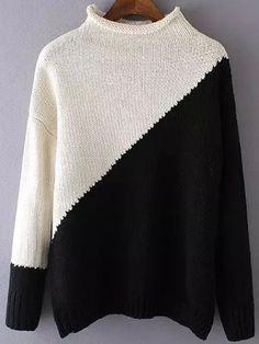 Jersey cuello alto tejido -color combinado-Spanish SheIn(Sheinside) Sitio Móvil
