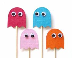 Pacman Ghosts Cupcake Toppers  Set of 24 Picks by TheBlissfulBaker, $16.00