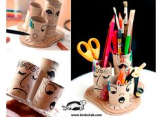 Toilet paper rolls' crafts and more ideas from Krokotak. Diy For Kids, Crafts For Kids, Arts And Crafts, Toilet Paper Roll Crafts, Paper Crafts, Crafts To Make, Diy Crafts, Craft Activities For Kids, Recycled Crafts