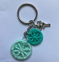 Keychain with Turquoise Dorset Buttons and Fairy Charm