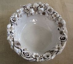 Decorative ceramic bowl white flowers on Etsy, $84.14